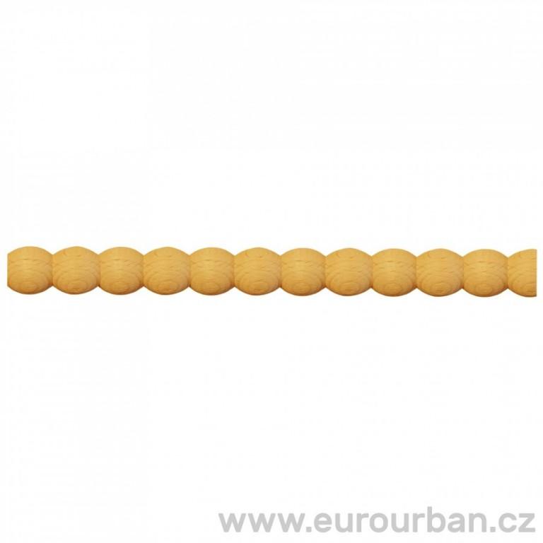 Buková lišta s perličkovým vyřezáváním TH75