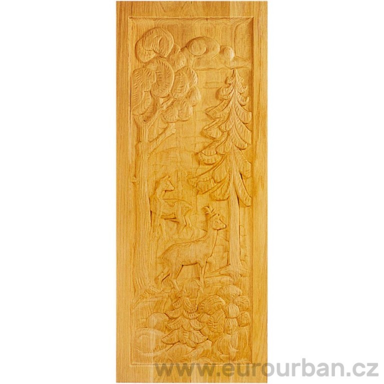 Dřevěná výplň s vyřezávaným motivem lesa MF808