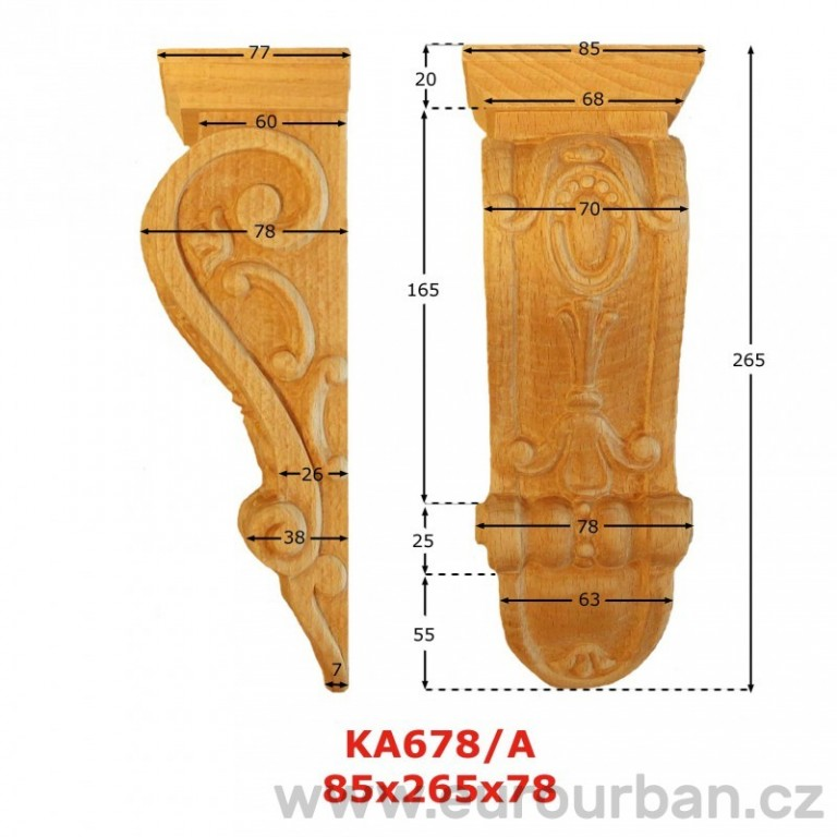 Ozdobná vyřezávaná hlavice z buku KA678/A