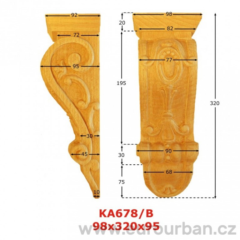 Ozdobná vyřezávaná hlavice z buku KA678/B