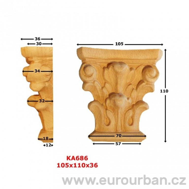Ozdobná vyřezávaná hlavice z buku KA686