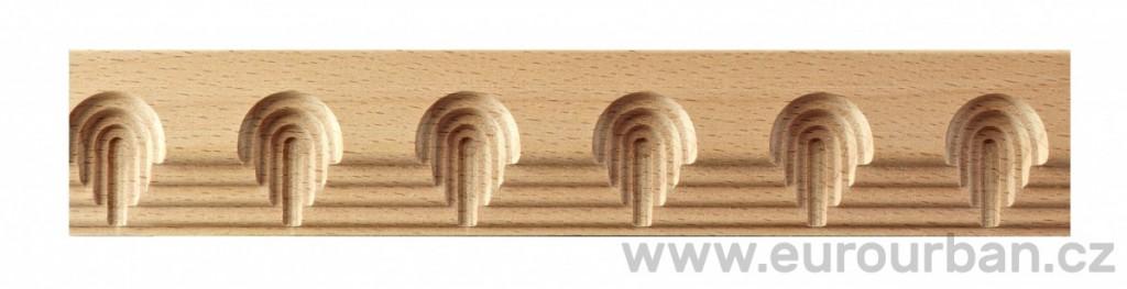 Buková lišta 2013/35x10 s kaskádovým obloukovým vzorem