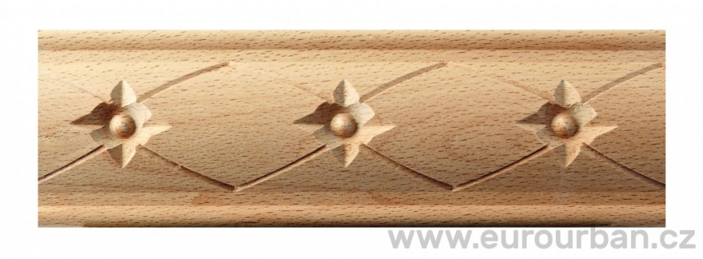 Buková vyřezávaná lišta 4089/60x15 - kulička s hvězdičkou