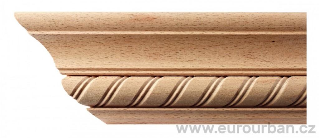 Profilovaná buková rohová římsa 23/MD/95 se spirálovou lištou