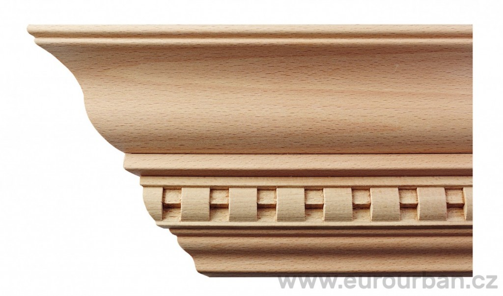 Profilovaná buková rohová římsa 8071/MD/BC zubořez