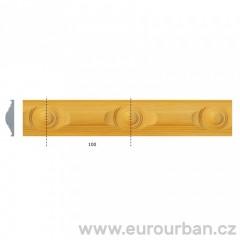 Dřevěná lišta s kružnicovým vzorem 1243 tech