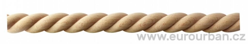 Dřevěná lišta spirálového typu 20/8I celokulatá