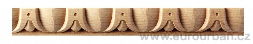 Buková vyřezávaná lišta 1217/130 se zobáčky - určená k ohýbání