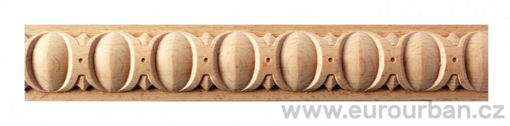 Buková vyřezávaná lišta 1227/130 - určená k ohýbání