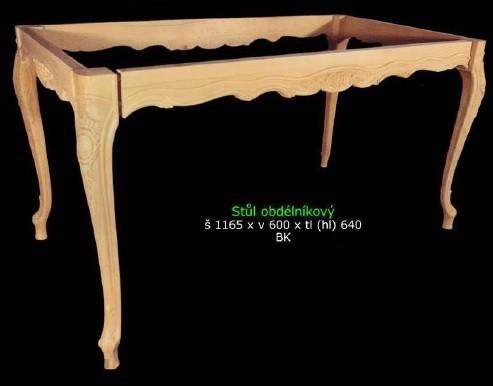 Netradiční obdélníkový vyřezávaný stůl