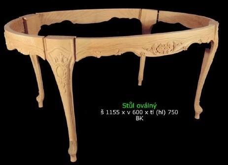 Oválný historický vyřezávaný stůl