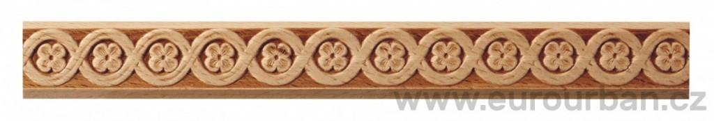 Dřevěná lisovaná lišta 1025/22x6 se čtyřlístky