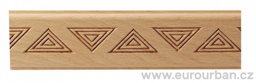 Dřevěná lisovaná lišta 9032/50x7 s trojúhelníky