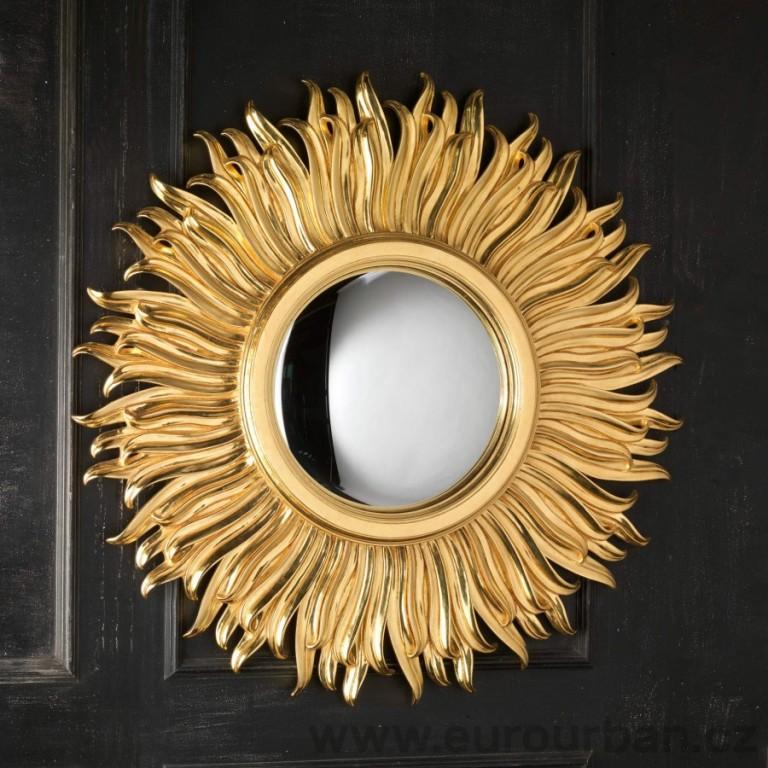 Vyřezávané zrcadlo zobrazující slunce CA55 - 23 karátové zlato