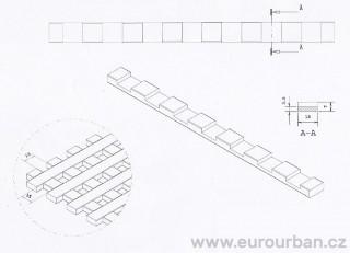 Profil lišt dřevěné mřížky