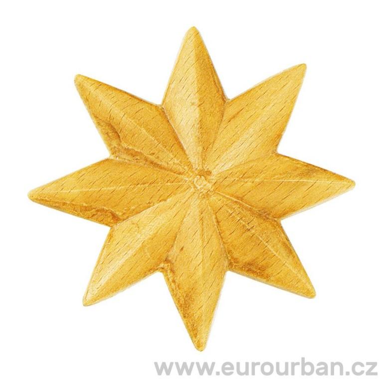 Vyřezávaná osmicípá hvězda 80mm - dřevěná ozdobná RR74